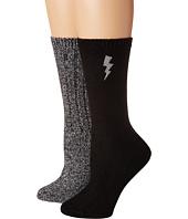 Steve Madden - 2-Pack Boot Sock Lightning Embroidery