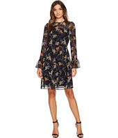 Donna Morgan - Noelle Long Sleeve Chiffon Dress with Ruffle at Yoke and Sleeves