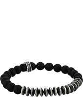 King Baby Studio - 8mm Onyx Bead Bracelet w/ Silver Disk Beads