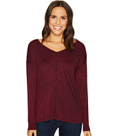 Three Dots - Refine Jersey Rocker Wash Drop Sleeve V-Neck Top