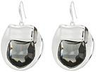Black Diamond and Silver Drop Earrings