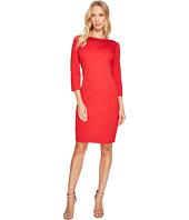 Taylor - Textured Jeweled Neck Knit Jacquard Dress