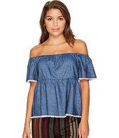 ROMEO & JULIET COUTURE - Off Shoulder 1/2 Sleeve Denim Top