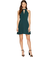 J.O.A. - Choker Neck Fit & Flare Lace Trim Dress