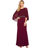 Sangria - Capelet Evening Gown with Embellished Waist