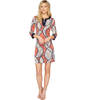 Sangria - 3/4 Sleeve Lace Front Puff Print Shift Dress