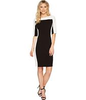 Sangria - 3/4 Sleeve Textured Knit Sheath Dress