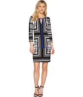 Sangria - 3/4 Sleeve Geo Print Shift Dress