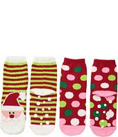 Jefferies Socks - Santa Fuzzy Slipper Socks 2-Pack (Toddler/Little Kid/Big Kid)