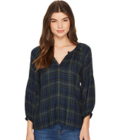 Michael Stars - Plaid 3/4 Sleeve Split-Neck Top