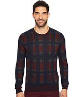 Perry Ellis - Winter Cotton Plaid Crew Sweater