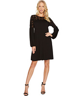 Three Dots - Refined Jersey & Embroidered Tulle Dress