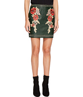 ROMEO & JULIET COUTURE - Studded Embroidered PU Mini Skirt