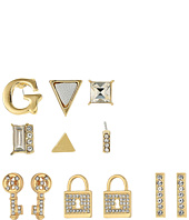 GUESS - 9 Set Mixed Earrings - Studs, Logo, Lock, Key