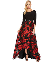 Adrianna Papell - Rose Pattern Ball Skirt with Long Sleeve Jersey Top