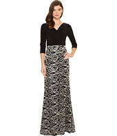Adrianna Papell - Draped Jersey Cowl Neck with Metallic Rose Embroidered Skirt Detail