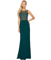 Adrianna Papell - Sleeveless Beaded Gown with Solid Crepe Skirt