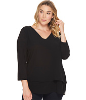 MICHAEL Michael Kors - Plus Size V-Neck Mixed Media Top