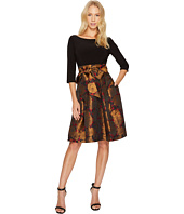 Adrianna Papell - Jacquard Fit & Flare with Matte Jersey Top